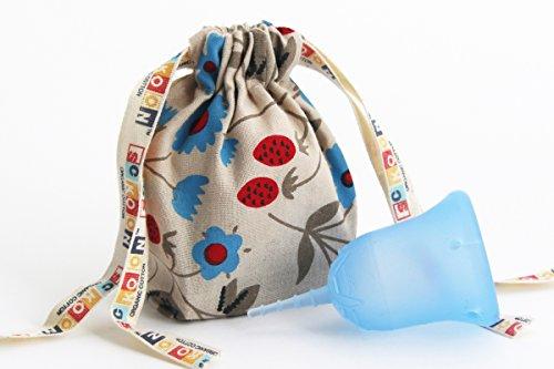 月経カップ スクーンカップ スーパー ソフトで量の多い日も安心 ナプキンやタンポン に代えてレギュラーやライトの日も使える生理用品 オーガニックコットンポーチつき バランス(水色)サイズ1 未経産婦用