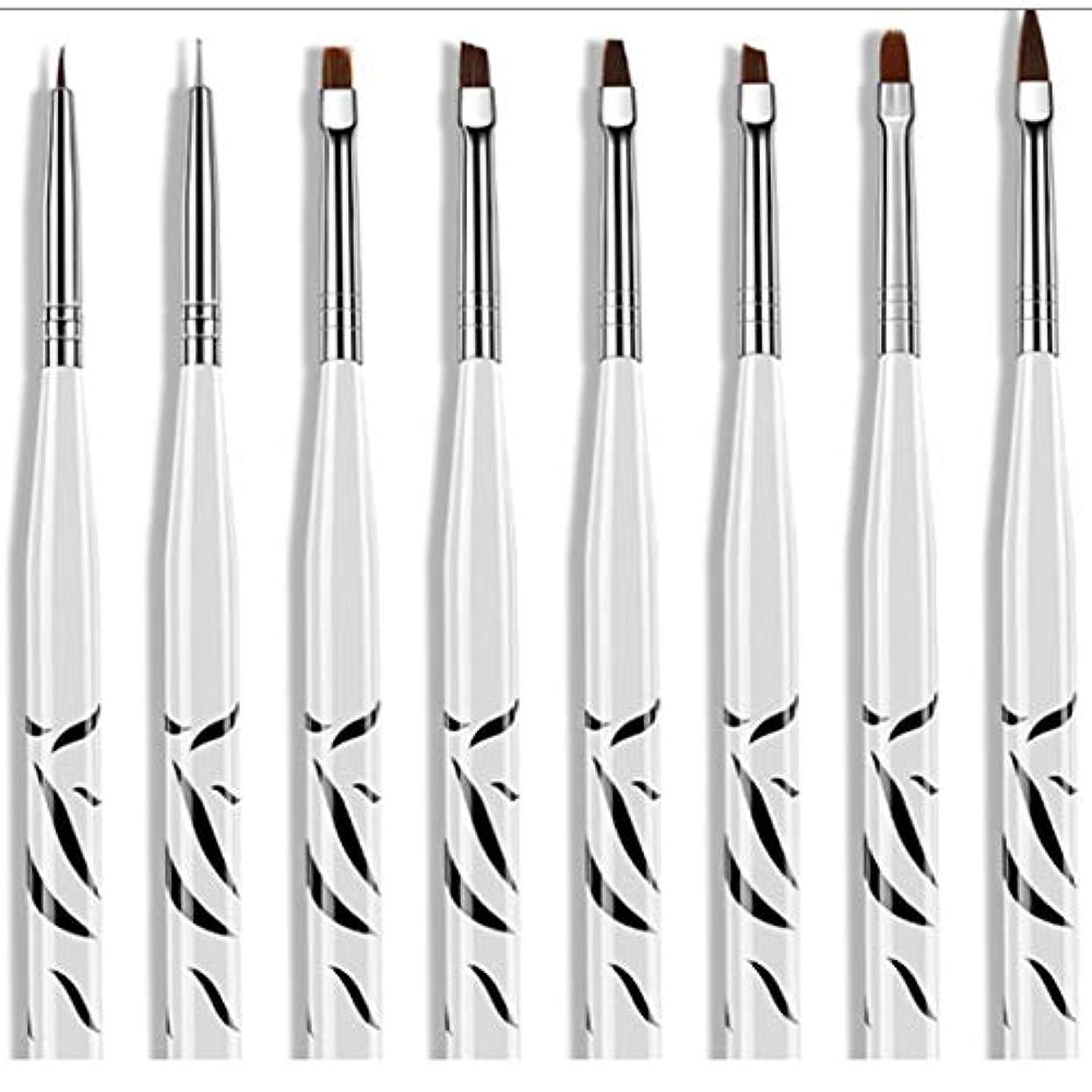 広範囲に展望台融合8個ゼブラセットネイルアートペインティングストライプラインブラシペンマルチカラーステンレススチール刻まれたプルワイヤー塗装ネイルペン-ホワイト