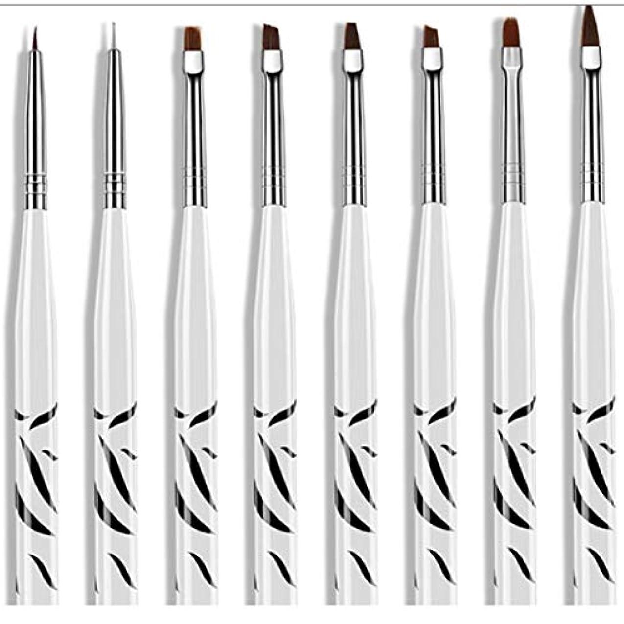 シンク収束するバズ8個ゼブラセットネイルアートペインティングストライプラインブラシペンマルチカラーステンレススチール刻まれたプルワイヤー塗装ネイルペン-ホワイト