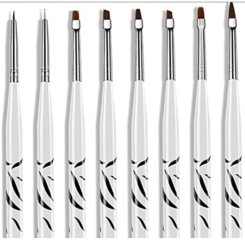 彼らのもの全体に。8個ゼブラセットネイルアートペインティングストライプラインブラシペンマルチカラーステンレススチール刻まれたプルワイヤー塗装ネイルペン-ホワイト