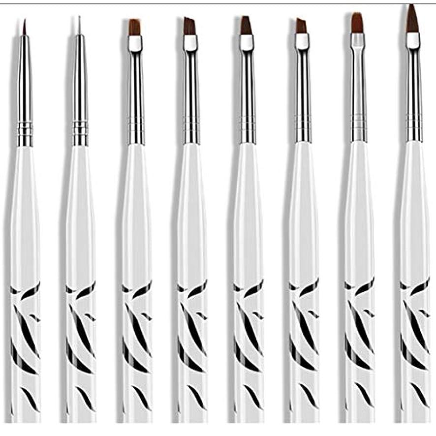 届けるルーフ保持する8個ゼブラセットネイルアートペインティングストライプラインブラシペンマルチカラーステンレススチール刻まれたプルワイヤー塗装ネイルペン-ホワイト