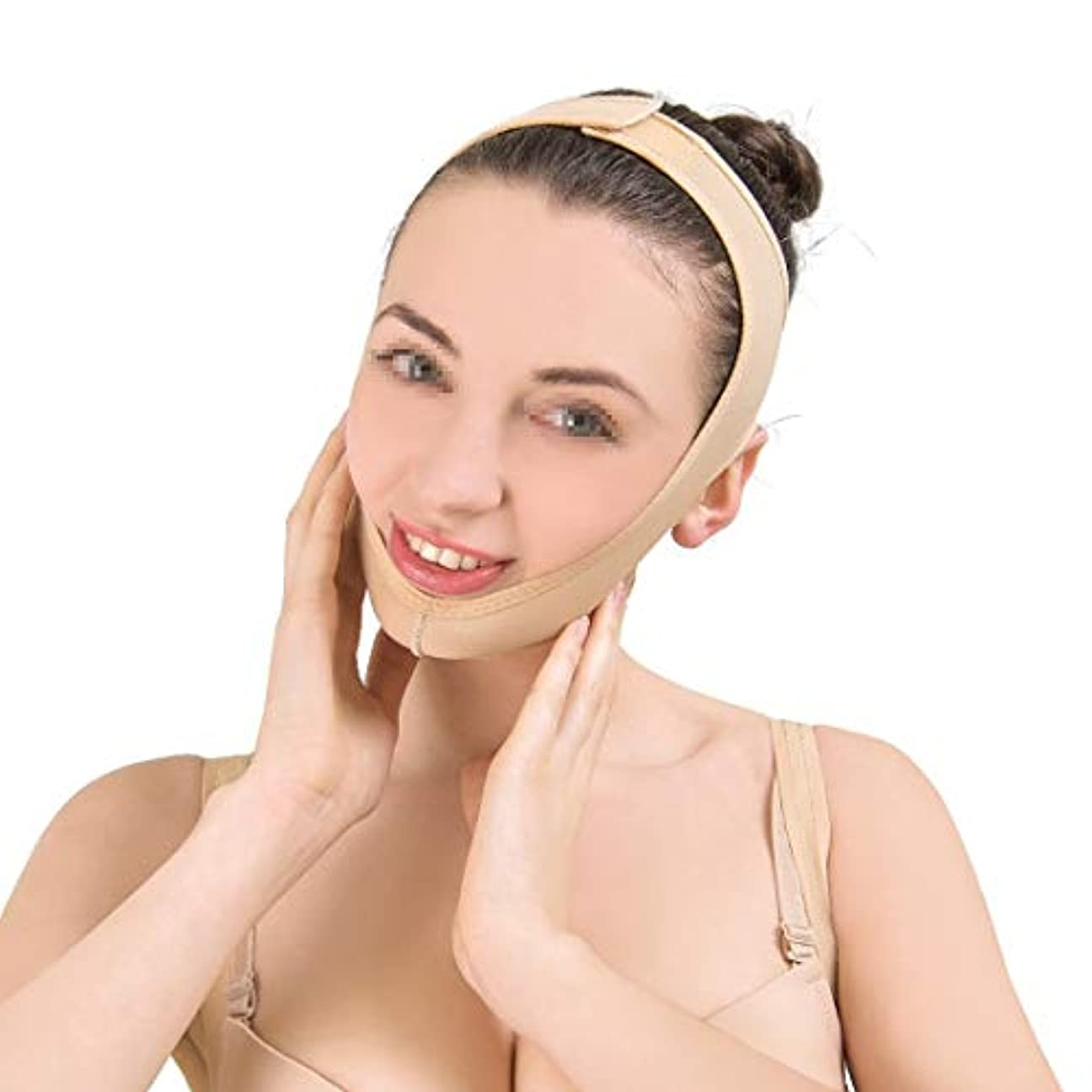 極めてサバント不満ZWBD フェイスマスク, フェイシャル痩身フェイシャルマスクリフティングベルトで肌の包帯を引き締め、Vフェイスライン包帯のダブルチンケア減量ベルトを強化 (Size : M)