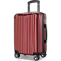 VARNIC スーツケース キャリーバッグ キャリーケース 機内持込 超軽量 大型 静音 ダブルキャスター 耐衝撃 360度回転 TSAローク搭載 ファスナー式 旅行 ビジネス 出張 人気色【永久保証】(7色3サイズ対応) (M サイズ(65L), 赤)