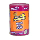 Scrub Daddy, Scrub Mommy - Dual Sided Sponge & Scrubber, Soft in Warm Water, Firm in Cold, FlexTexture, Deep Cleaning, Dishwasher Safe, Multipurpose, Scratch Free, Odor Resistant, Ergonomic, 4ct roll