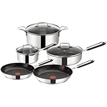 TEFAL Jamie Oliver Stainless Steel Mediterranean 5 Piece Cookware Set, Silver E763S5