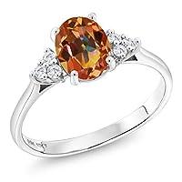 Gem Stone King 1.62カラット 天然石 エクスタシーミスティックトパーズ 合成ダイヤモンド 10金 ホワイトゴールド(K10) 指輪 リング