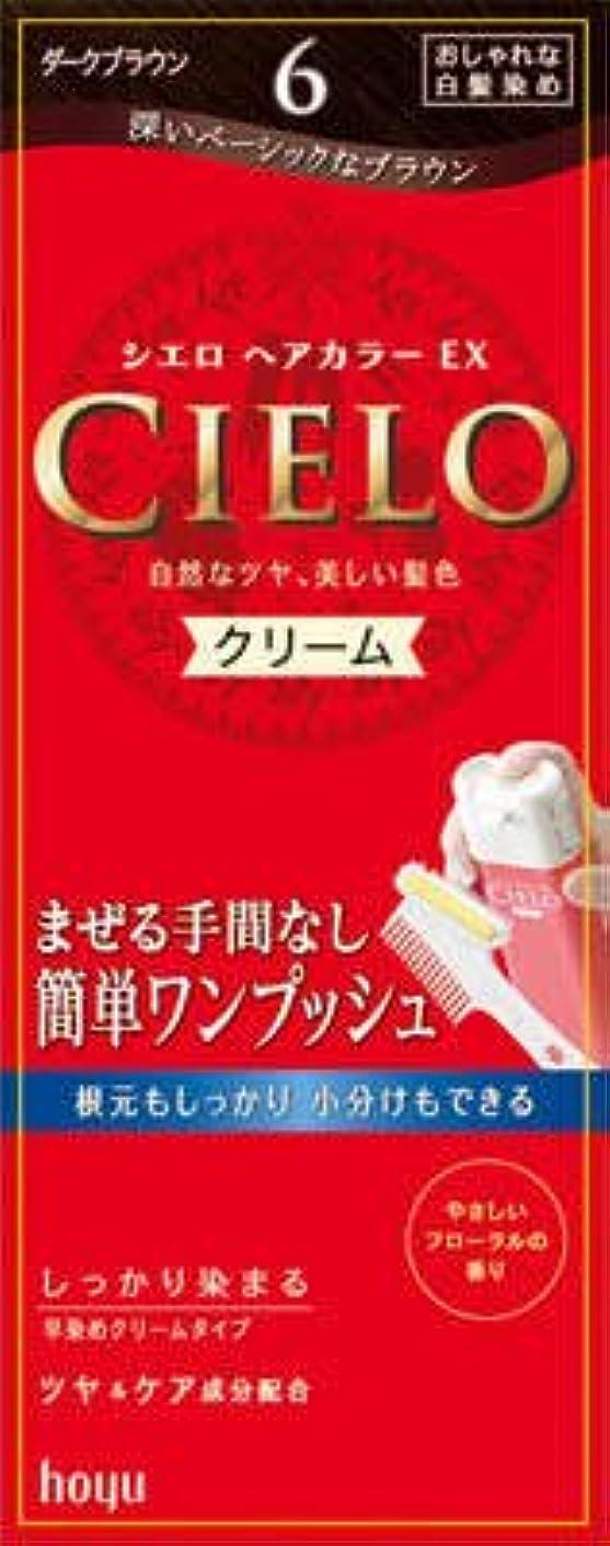 【ヘアケア】ホーユー シエロ ヘアカラーEX クリーム6 (ダークブラウン) 1剤40g+2剤40g 白髪染め 早染めタイプ×27点セット (4987205284663)