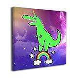 恐竜 ユニコーン レインボー 虹 縦3D柄プリン アートフレームモダン 寝室 ブラック現代壁の絵額縁付きの完成品 壁掛け 部屋飾り 背景絵画 インテリア デザイン 壁アート 玄関 壁 風景画 装飾 軽くて取り付けやすい