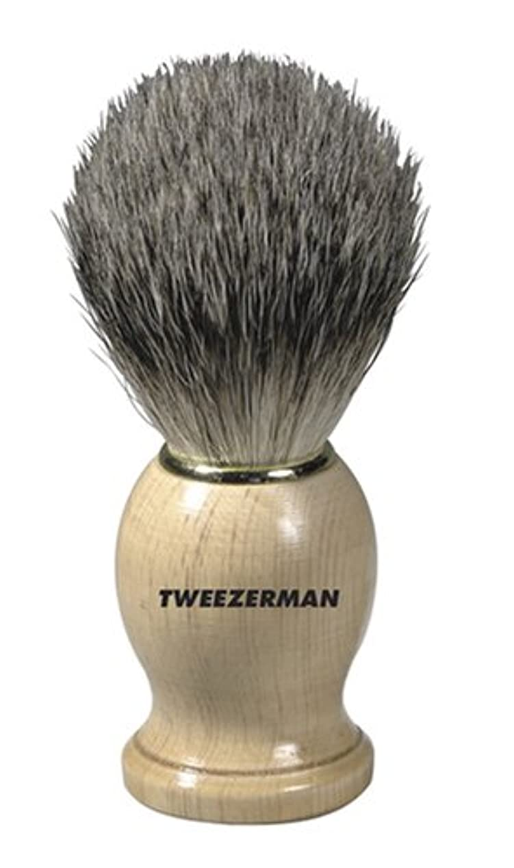 ユニークな味電話するTweezerman メンズ シェービングブラシ(100%アナグマの毛)