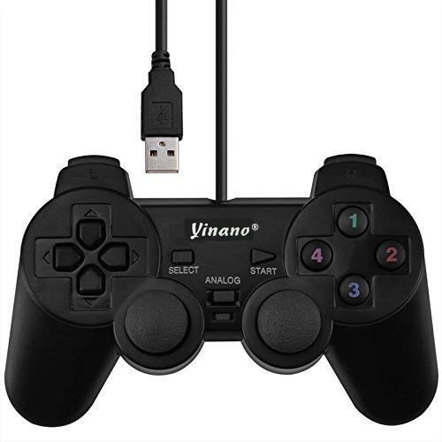 Yinano 振動機能対応 パソコン ゲームパッド PC コントローラー USB有線 コントローラ 採用 300万回耐久試験 Windows 7 プレイステーション デザイン