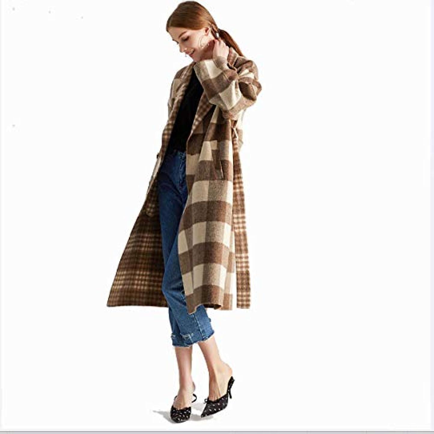 ふざけた病気の固体ロングコート、タータンチェックの両面カシミヤのコート手作りのウールコートウールドレス婦人服,L