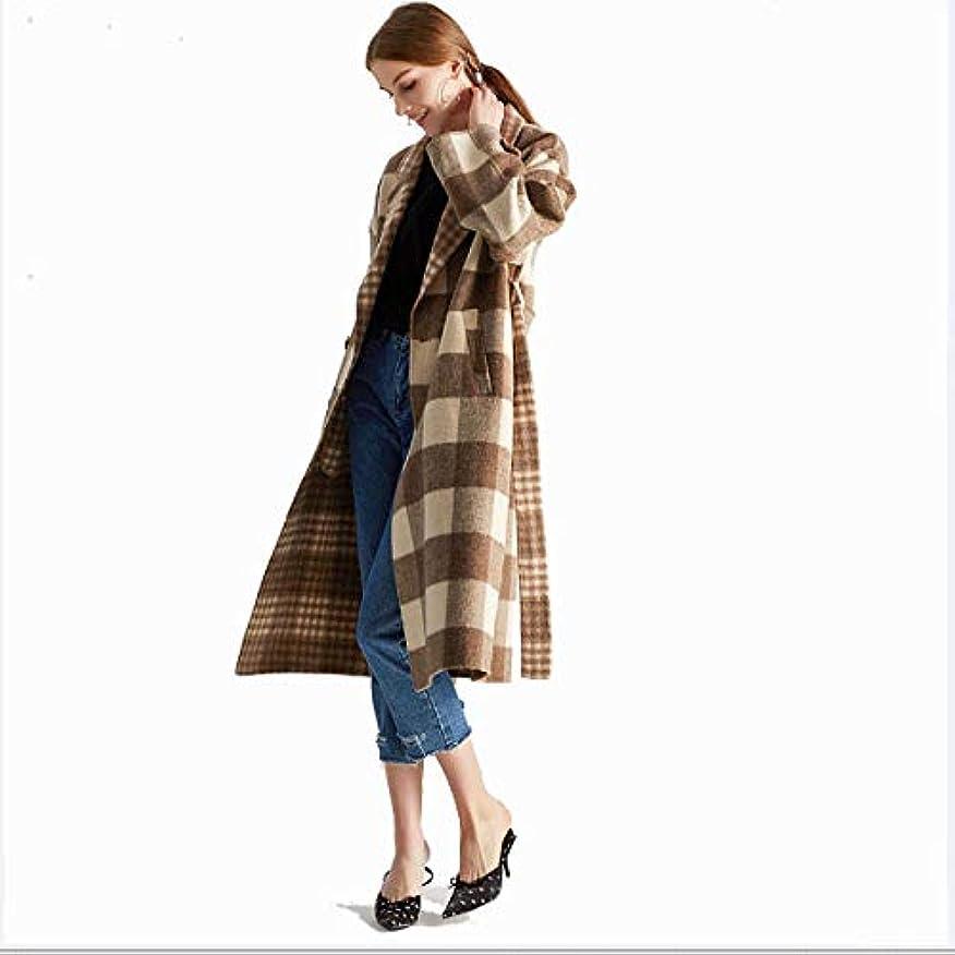 一目展開するチョコレートロングコート、タータンチェックの両面カシミヤのコート手作りのウールコートウールドレス婦人服,L