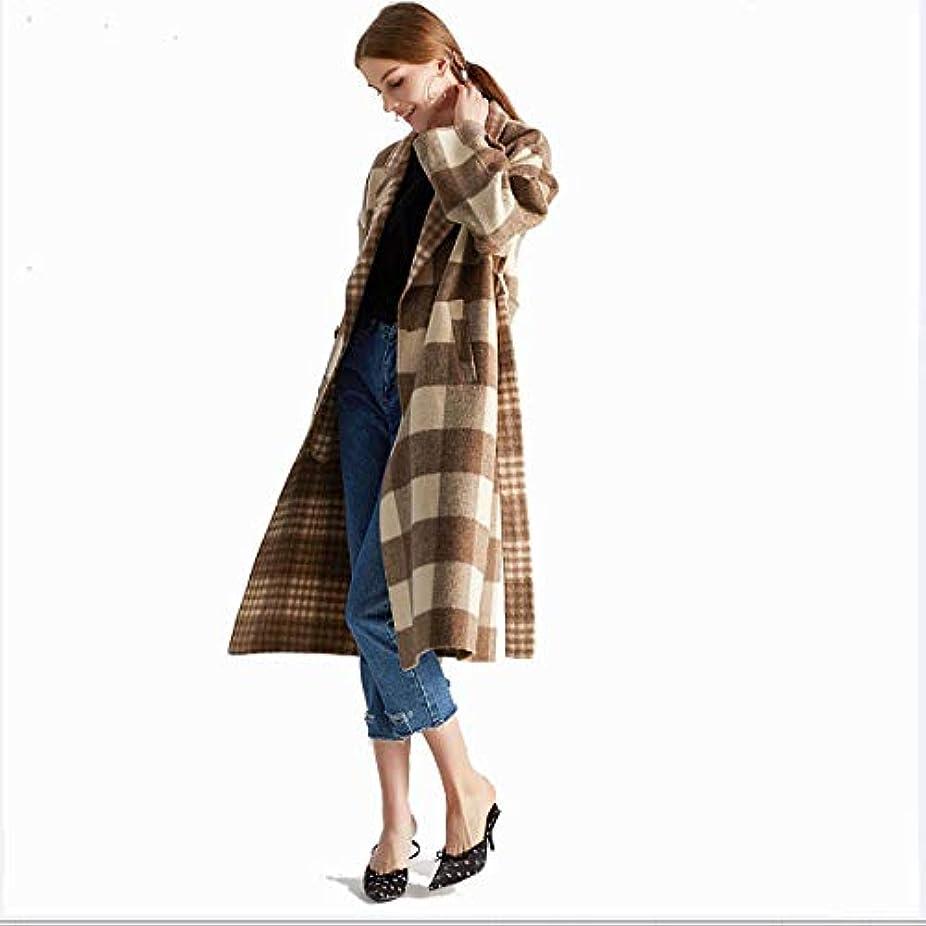 矢じりストレスの多い過言ロングコート、タータンチェックの両面カシミヤのコート手作りのウールコートウールドレス婦人服,L