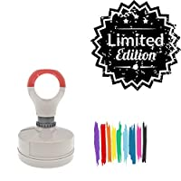 Limited Edition Round Badge Style Pre-Inked Stamp, Red Ink Included