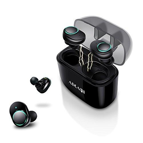 AIKAQI 完全ワイヤレスイヤホン Bluetooth 4.2 左右分離型 ワンボタン設計 呼吸ランプ付き 片耳 両耳とも対応 CVC8.0ノイズキャンセル 高音質 軽量 スポーツイヤホン IPX5防汗防滴 マイク内蔵 ハンズフリー通話 充電式収納ケース付 ブルートゥースヘッドセット B05 ブラック