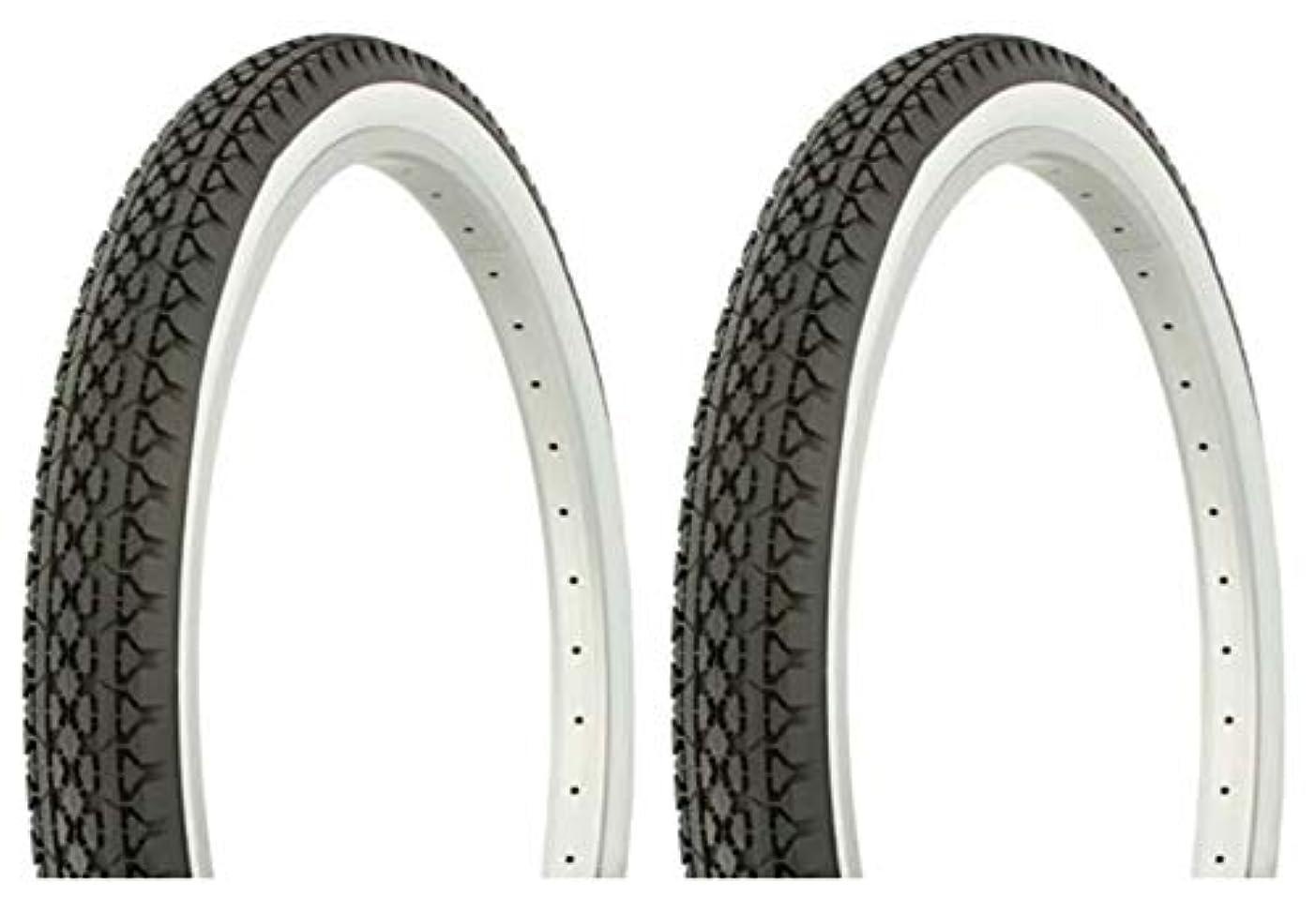 ごめんなさい住人会話Lowrider タイヤセット 2タイヤ 2タイヤ デュロ 26インチ x 2.125インチ ブラック/ホワイト サイドウォールHF-133 自転車タイヤ 自転車タイヤ ビーチクルーザー バイクタイヤ クルーザーバイクタイヤ