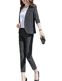 春 夏 秋 スーツレディース 背抜き ストライプ 全3色 パンツ+ジャケット 通勤 フォーマル カジュアル スーツ おおきいサイズ