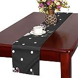 LKCDNG テーブルランナー 黒い きれい 和風の花 クロス 食卓カバー 麻綿製 欧米 おしゃれ 16 Inch X 72 Inch (40cm X 182cm) キッチン ダイニング ホーム デコレーション モダン リビング 洗える