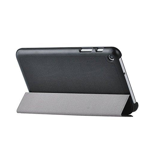 HuaWei ファーウェイ MediaPad 7 T1-701w ケース 【KuGi】 高品質 超薄型 超軽量 ファーウェイ MediaPad 7 カバー マグネット開閉式 三つ折 高級PU レザーケース ( ブラック )