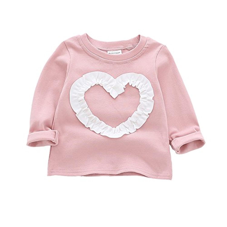 ALLAIBB ベビー Tシャツ 長袖 キッズ ロングtシャツ 女の子 春 秋 心柄 可愛い 赤ちゃん トップス 普段着 size 80 (ピンク)