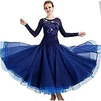 garudaレディース社交ダンスドレス パーティーダンス発表会ワンピースドレス 舞台衣装ワンピース ネイビー