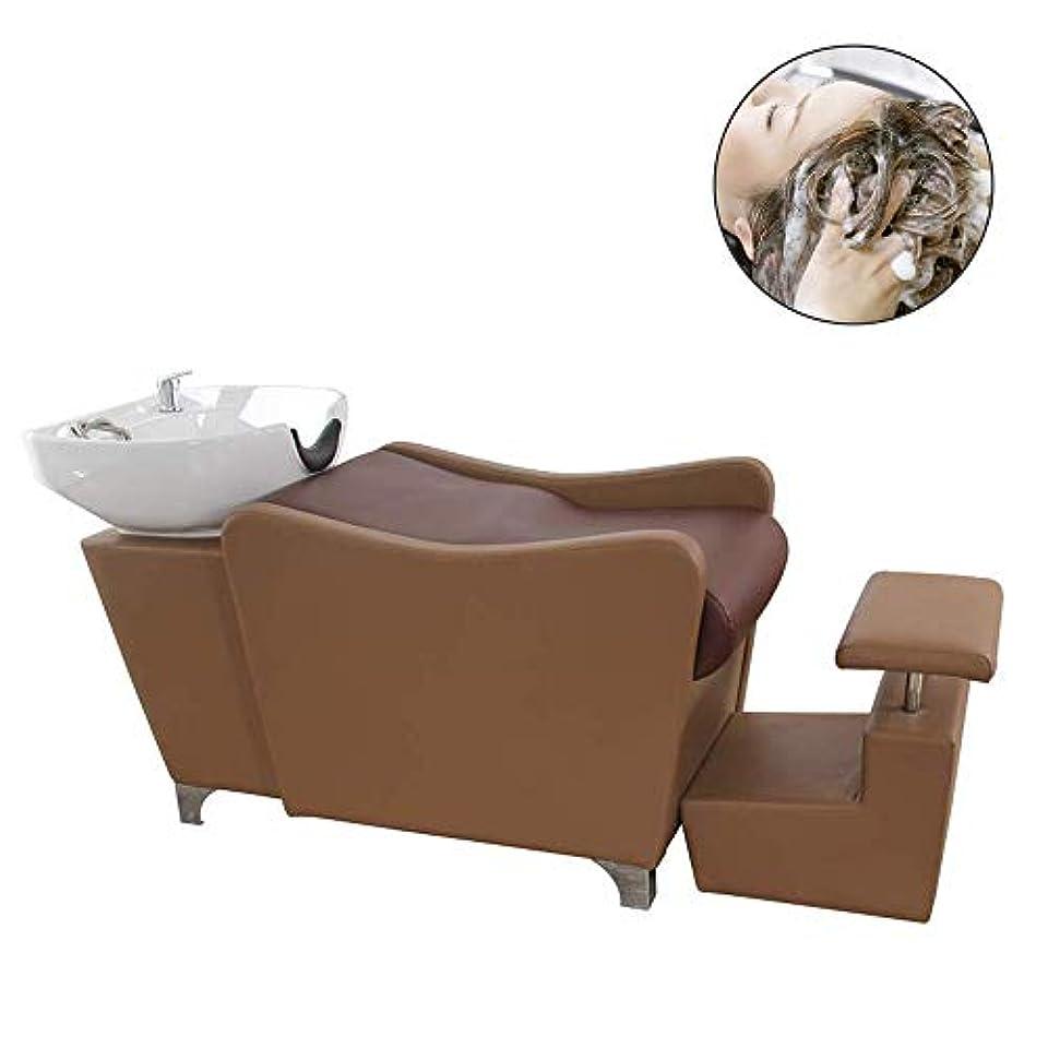面倒液体民間人サロン用シャンプー椅子とボウル、理髪店逆洗ユニットシャンプーボウル理髪用シンク椅子用スパビューティーサロン機器(茶色)