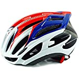 Osize アダプティブバイクヘルメット多孔質換気ヘルメットワンピース自転車ヘルメット(青+白+赤)