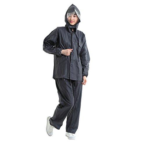 Eco Ride World レインコート 3点 上下セット レインウェア 雨具 raincoat_069 (XL, ネイビー)