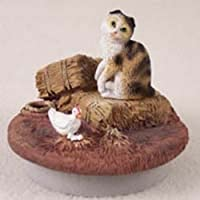 "Tortoise &ホワイトScottish Fold Cat CandleトッパーTiny One "" A Day on theファーム"""