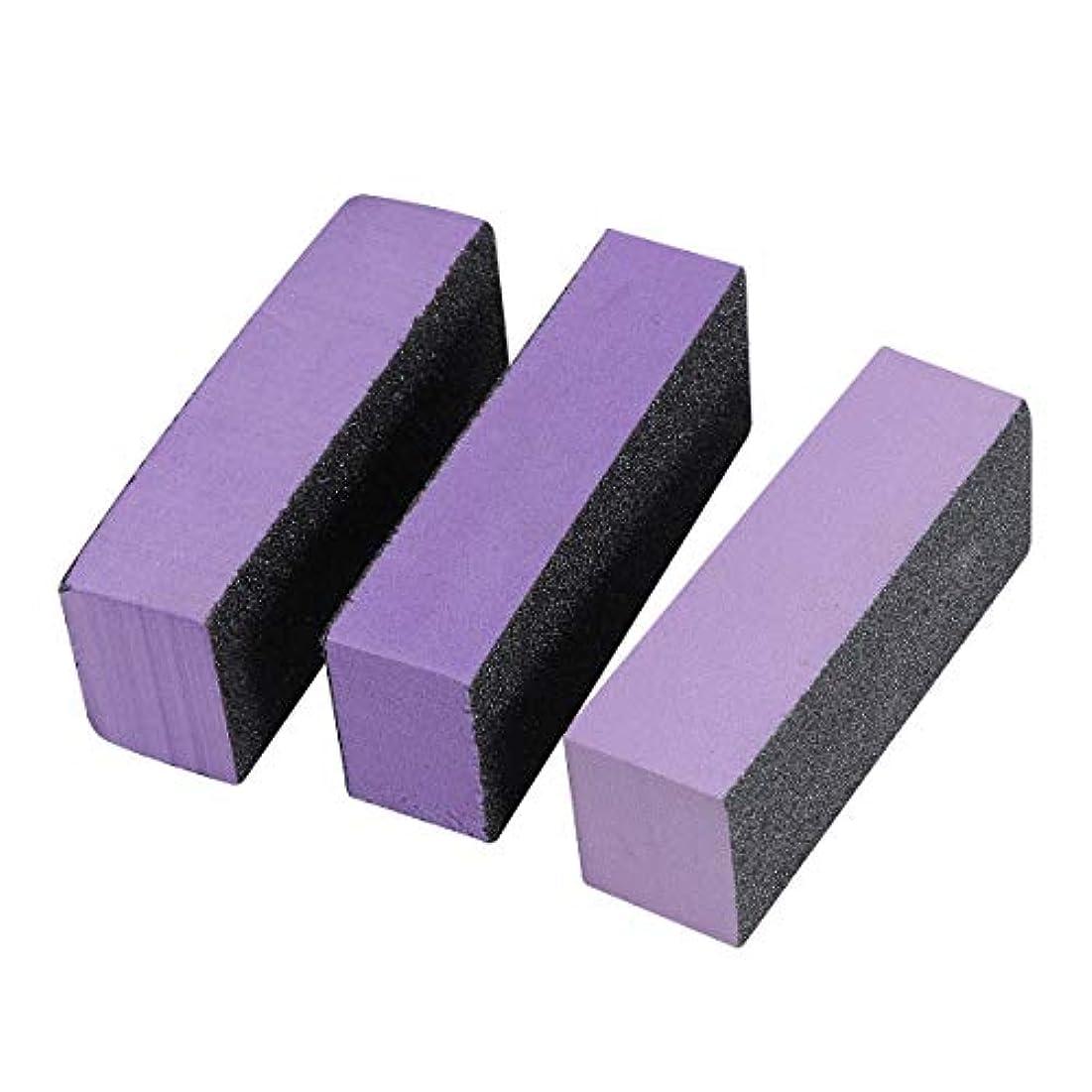 Lurrose スポンジネイルファイル ネイルバッファーブロック 3サイド ネイル ポリッシュストリップ エメリーボード ネイルツール用品3ピース