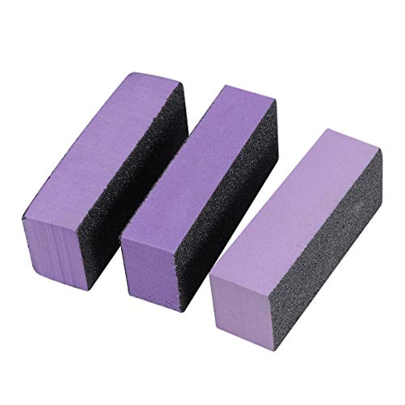 に勝る軽食酸度Lurrose スポンジネイルファイル ネイルバッファーブロック 3サイド ネイル ポリッシュストリップ エメリーボード ネイルツール用品3ピース