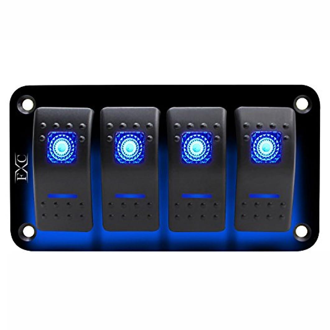 キャンプクリーク陰謀Semoic 12V-24V 4 セット ブルー2 LEDライトロッカースイッチパネル回路ブレーカーボートマリン防水