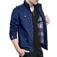 Tootess Mens Casual Fleece Lined Loose Outwear Parka Jacket Coat Dark Blue 3XL