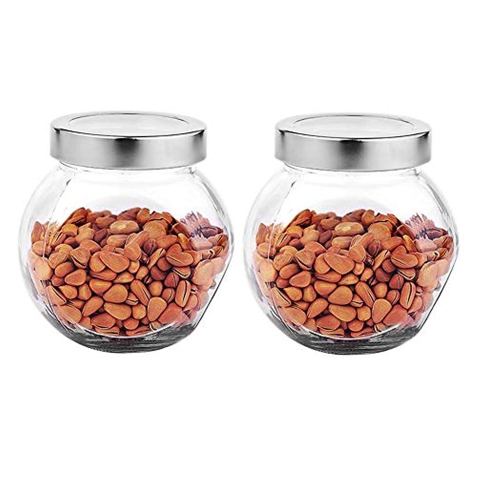 割れ目安定したルーフ2つの透明ガラス貯蔵容器茶/季節密封缶の貯蔵ジャーパック(450 ml)