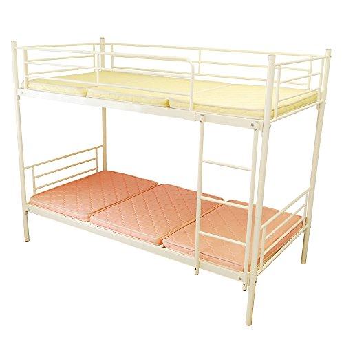 【耐荷重300kg】二段ベッド ムーン2-ART 軽量 アイアン パイプ式 2段ベッド (ホワイト)
