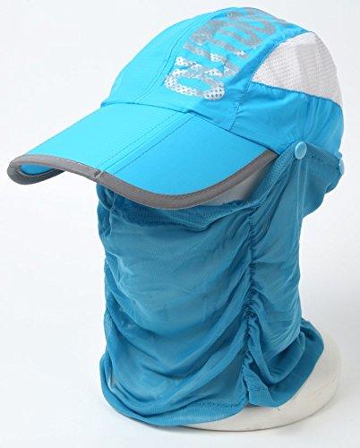 (ネットオー) NET-O サンキャップ ランニング用 スポーツ用 帽子 ゴルフ レディース UV カット 日除け 日焼け防止 紫外線 カット フェイスカバー アウトドア サイズ調節可 (ブルー)