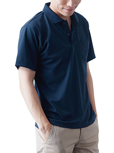 ティーシャツドットエスティー ポロシャツ ドライ 半袖 無地 ポケット付き UVカット 4.4oz メンズ ネイビー 5L