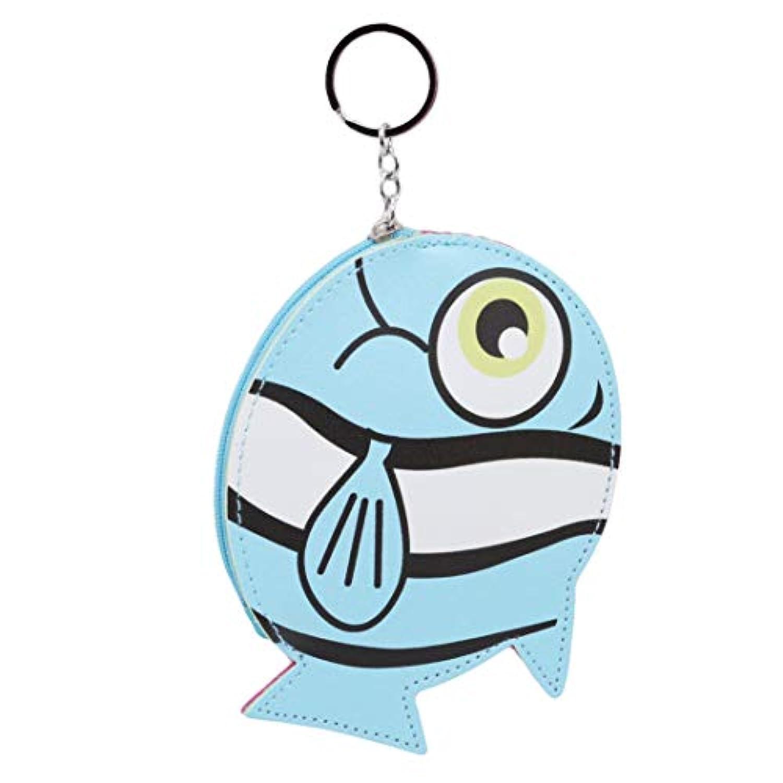 Underleaf 素敵な漫画の小銭入れキーホルダー女の子の財布Puの革の財布女性のためのかわいい魚の形小銭入れのカードケース