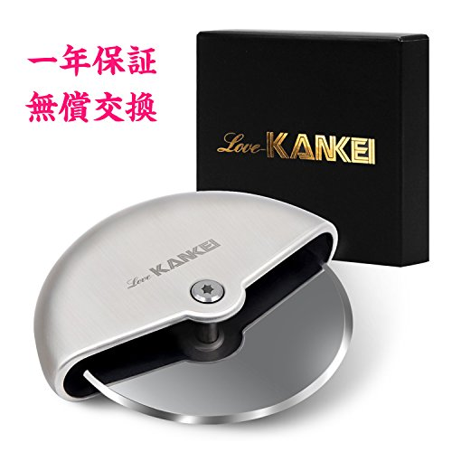 Love-KANKEI® ピザカッター 家庭 事務 キャンプ 回転式 耐久性 コンパクト収納 ステンレス製