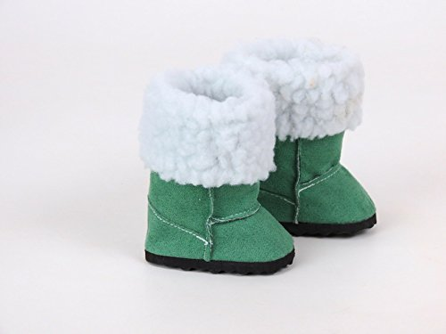 Green Fur Boots for Dolls, Rea...