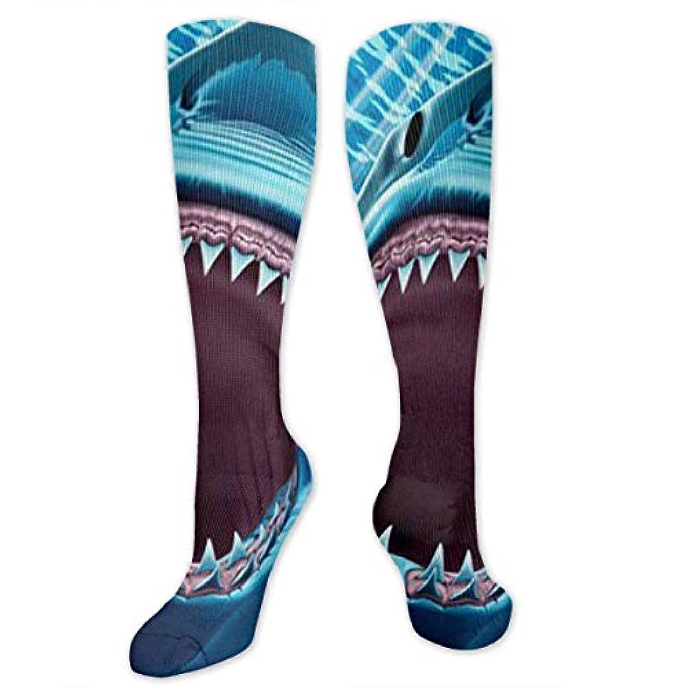 柔和マーティフィールディングティーンエイジャーQRRIYノベルティデザインクルーソックス、グレートホワイトサメの歯、クリスマス休暇クレイジー楽しいカラフルなファンシーソックス、冬暖かいストレッチクルーソックス