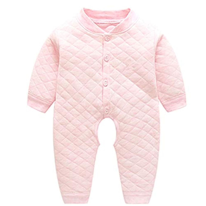 貫通するリングバック拾う長袖 赤ちゃんパジャマ新生児クライミングスーツ - 秋と冬 赤ちゃん 暖かい ワンピース 服 コットンロンパー 0-1歳の子供のための (粉, 80)