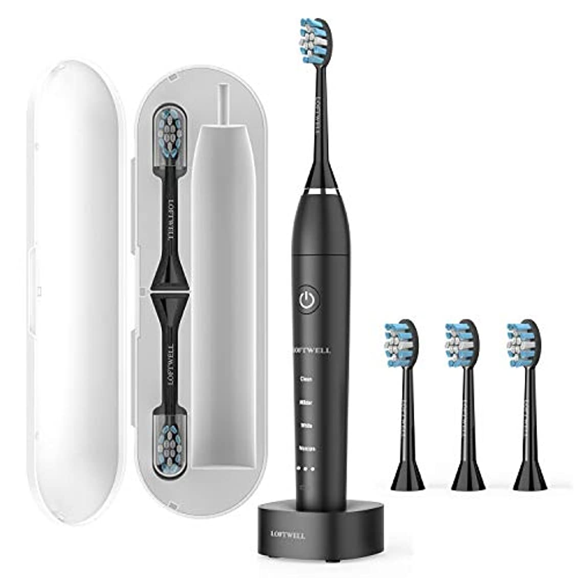 愛撫しなやかドラッグ電動歯ブラシ USB充電式 LOFTWELL 音波歯ブラシ 4モード 超音波 歯ブラシ 2分間オートタイマー機能搭載 フル充電20日使え IPX7防水 替えブラシ6本付き (D5-電動歯ブラシ)
