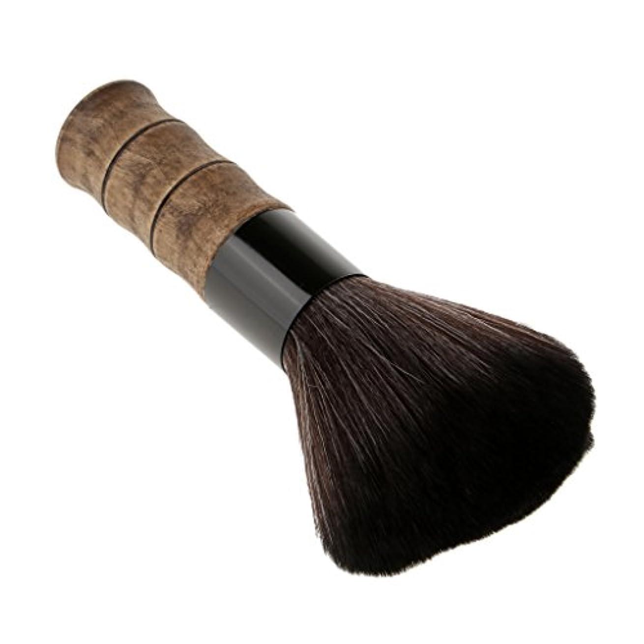 石灰岩弓報復ソフトファイバー脱毛シェービングブラシブラッシュルーズパウダーメイクブラシ竹 - ブラック