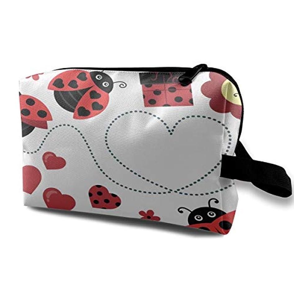 無駄にブロッサム標高Clipart Valentine Ladybugs Artistic 収納ポーチ 化粧ポーチ 大容量 軽量 耐久性 ハンドル付持ち運び便利。入れ 自宅?出張?旅行?アウトドア撮影などに対応。メンズ レディース トラベルグッズ