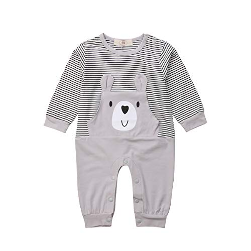 1d53ea9cf02a6 Sylvamorning ストライプ 子供服 ロンパース 新生児 ベビー カバーオール 子供服 ウサギ 熊ちゃん 可愛い赤ちゃん服