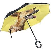 逆さ傘 逆折り式傘 車用 日傘 長傘 スカーフを着っている犬柄 イェロー UVカット 手離れC型手元 撥水加工 晴雨兼用 耐風 124センチ