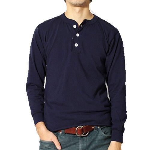 (ヘルスニット)HealthKnit ヘンリーネック ロング Tシャツ 長袖 メンズ XL 068.Olive