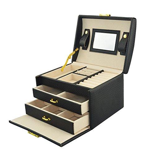 (ユニー) UNEEI 鍵付き ジュエリーボックス 携帯 大容量 網目調 皮革 アクセサリケース ジュエリー収納 コスメボックス 3段タイプ 引出し2段 ブラック JE0002-BK