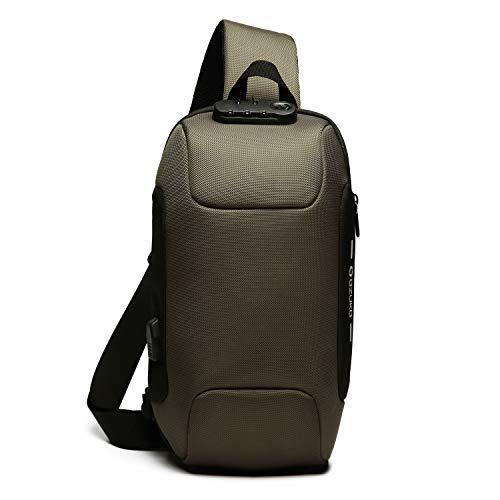 ボディバッグ USB充電ポート搭載 斜めがけ ワンショルダーバッグ メンズ 旅行カバン 盗難防止 防水 9.7インチiPad収納可 (5.グリーン)